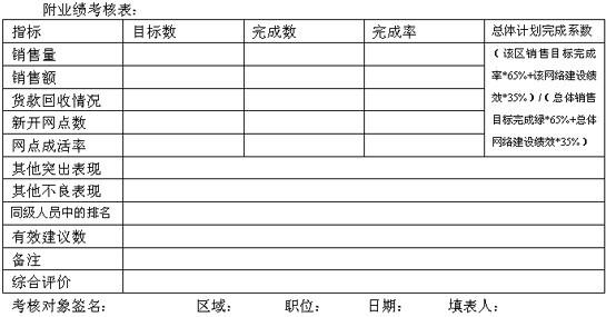 业绩考核表